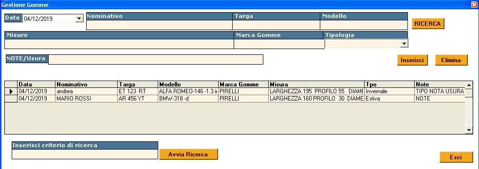 software deposito gomme gestione