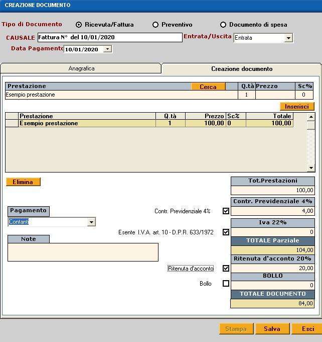 fattura software fisioterapia