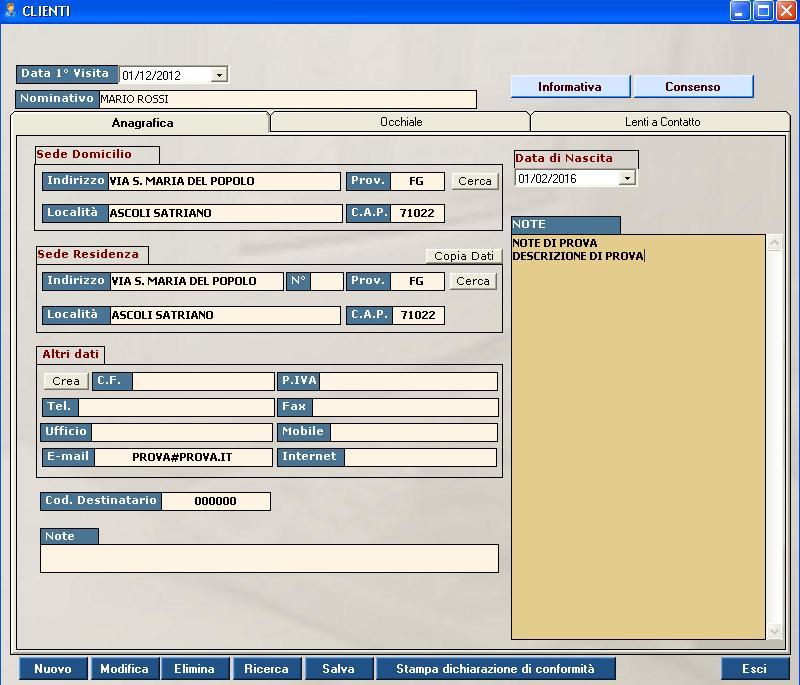 software negozio ottico