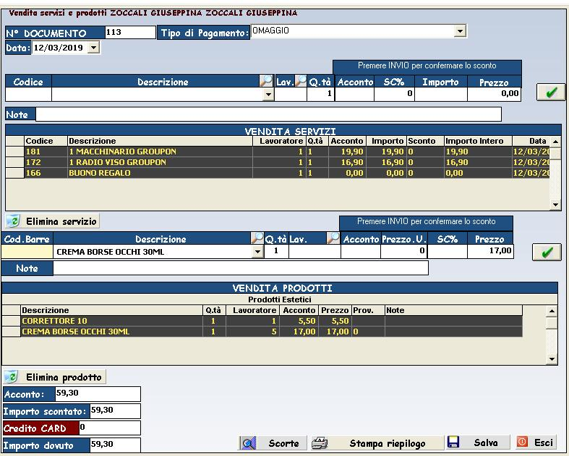 vendita servizi software gestione parrucchieri