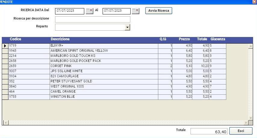 software tabacchi elenco vendite