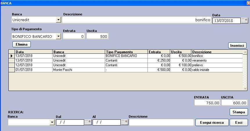 movimenti banca software trasporti